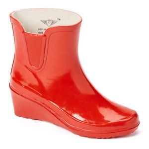 Women Ankle Wedge Rain boots, #5102, Red